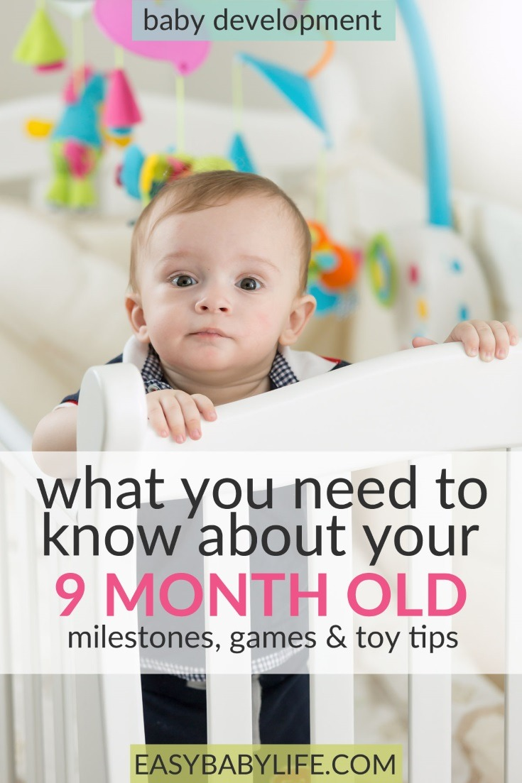 The active little 9-month-old. Here's a great guide to 9-month-old baby development milestones, tips on games to play and toy tips for 9-month-old babies. 9-month-old baby activities, things to do with a 9-month-old baby, 9-month-old baby tips, separation anxiety. #baby