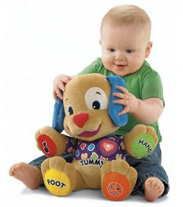 a very annoying toy for adults that our babies really liked at this age was fisher price laugh learn learning puppy shown in the picture