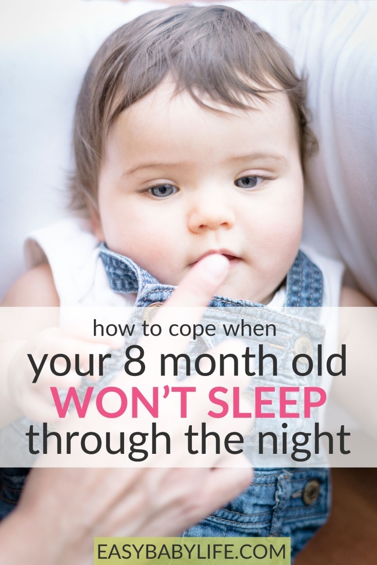 The 8-month baby sleep regression... How to cope if your 8-month-old baby won't sleep through the night! Baby sleep tips, 8-month baby sleep tips, baby development, baby sleep, baby not sleeping at night tips #baby