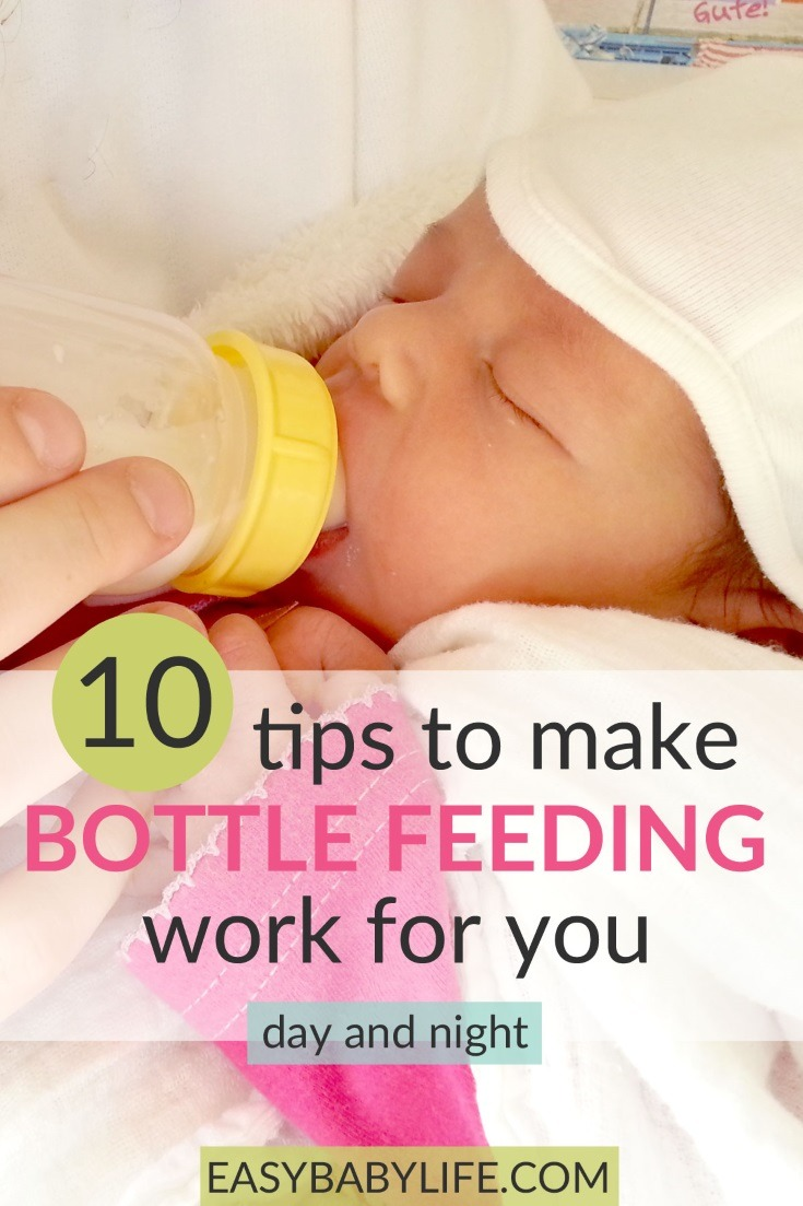 10 bottle feeding tips to make feeding your baby easy! Bottle feeding formula, bottle feeding breastmilk, bottle feeding at night, how to introduce the bottle to a breastfed baby.