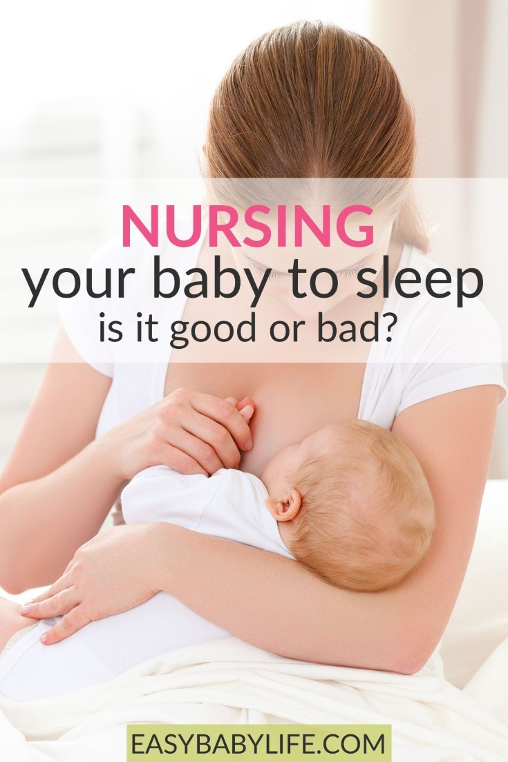 Is nursing a baby to sleep a bad habit or all natural and great for comfort and a thriving baby? Learn the pros and cons of breastfeeding a baby to sleep here. Breastfeeding tips, baby sleep tips, human pacifier #baby