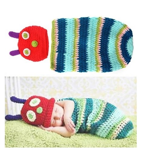 Caterpillar Style Baby Infant Newborn Handmade Crochet
