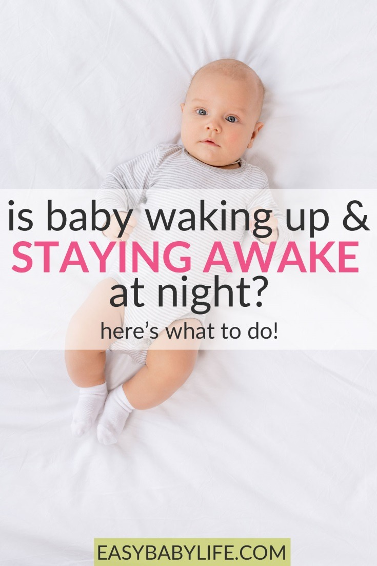 If your is baby waking up and staying awake at night, you are probably exhausted! Baby sleep tips, baby waking up at night, baby wakes up, baby not sleeping at night #baby