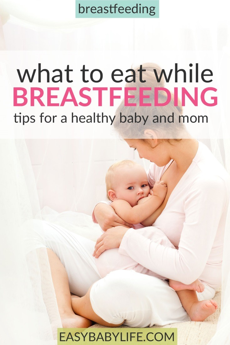 Awesome tips and free printable on what to eat while breastfeeding and not. Healthy foods to eat while breastfeeding, foods to avoid while breastfeeding, eating fish while breastfeeding, breastfeeding diet colic