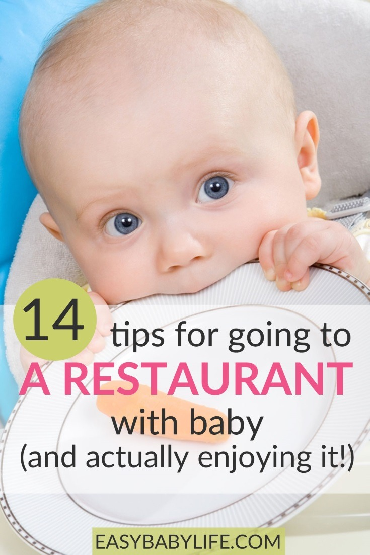 A restaurant visit with a baby..? No thanks? No, no! It can be done. Here are 14 tips to make it work! Eating out with baby, eating out with toddler, baby tips, toddler tips